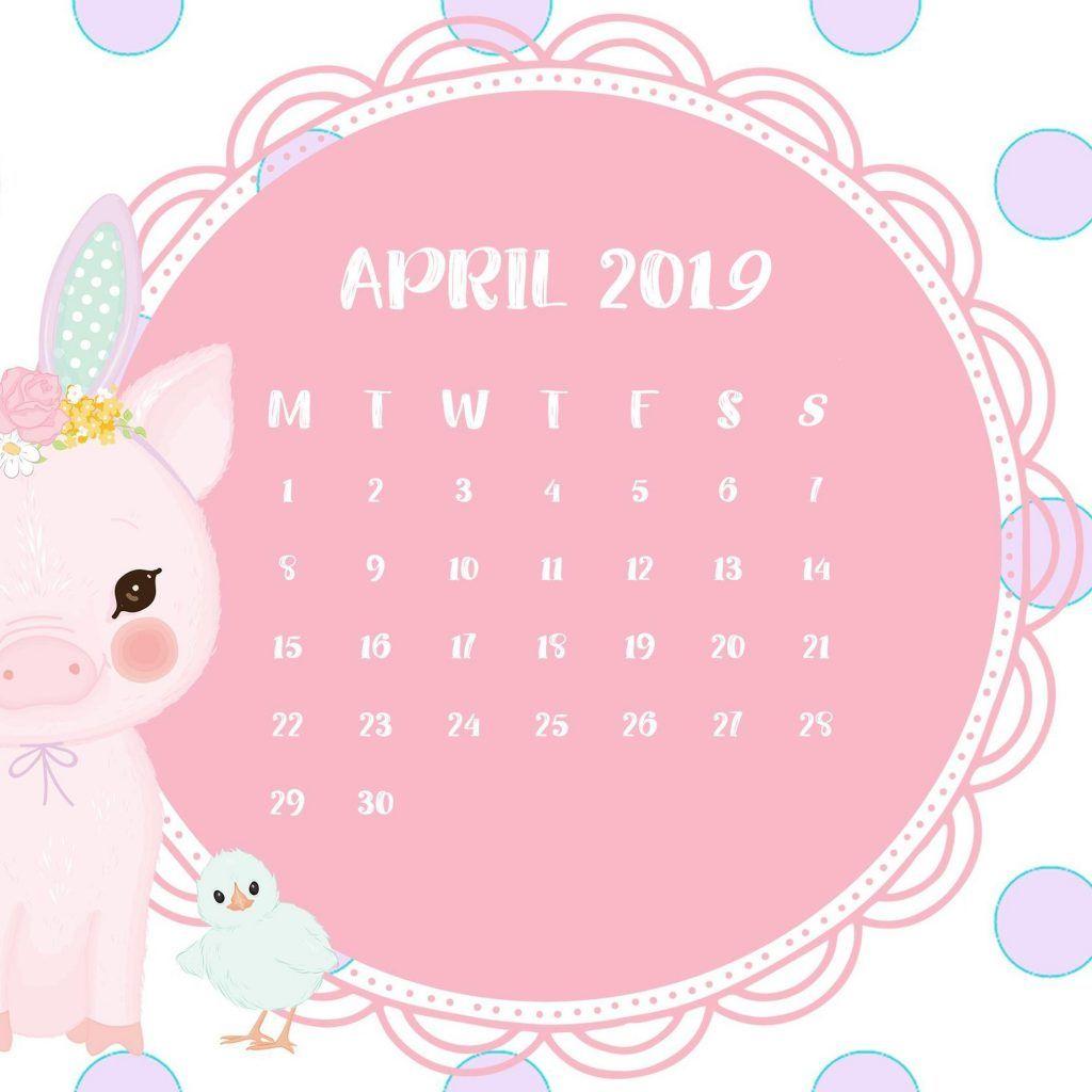 cutepinkapril2019iPhone Wallpaper calendar Calendar