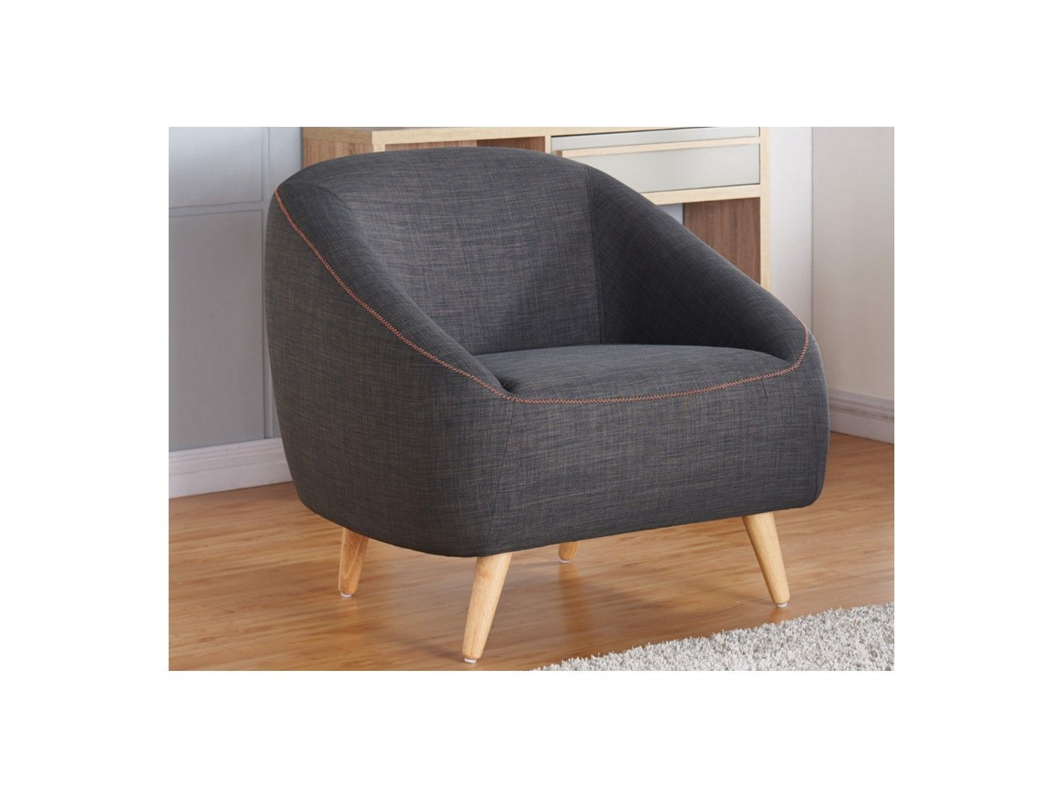et coutures Anthracite Fauteuil en tissu TINKA oranges m8n0Nw