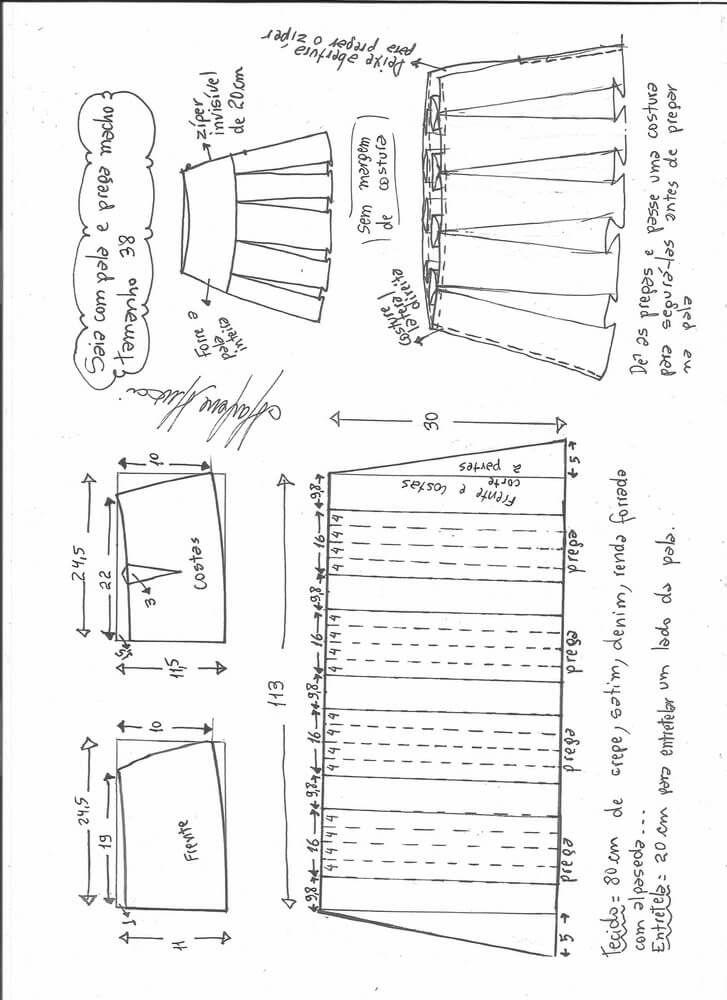 Patrón de Falda con pliegues | Cosas para ponerse | Pinterest ...