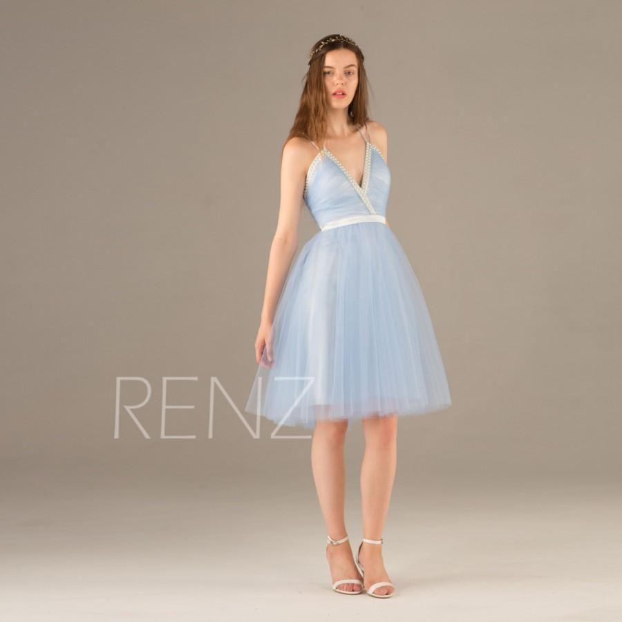 light blue bridesmaid dress beaded jewel v neck wedding dress