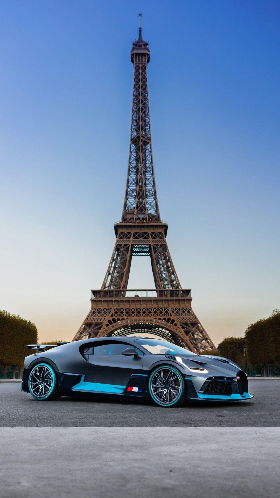 Bugatti Eiffel Tower Mobil Sport Mobil Wallpaper Ponsel