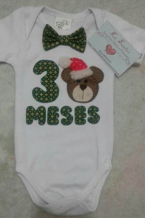 fa64fdfc6 BODY mesversario- tema NATAL   Onesie dress/bodys babys   Body ...