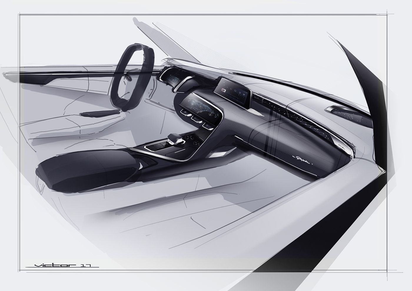 Interior Sketch On Behance With Images Car Interior Sketch