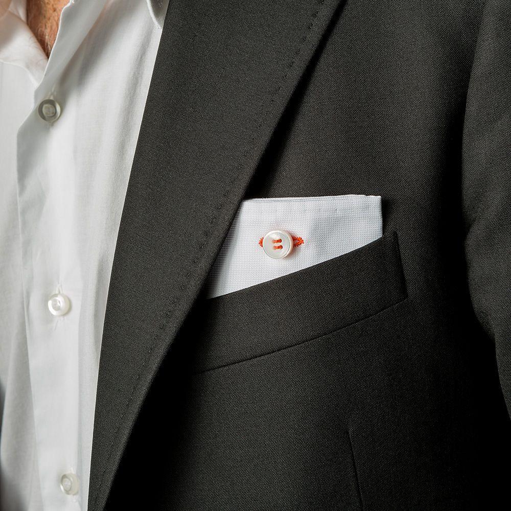pochette da giacca Eyelet Milano, Monday, piquet bianco e asola di cotone arancione, #madeinitaly #eyeletmilano