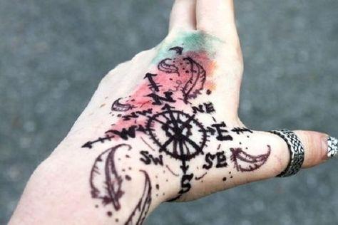 39 Awesome Compass Tattoo Design Ideas Tattoos Hand Tattoos Watercolor Compass Tattoo