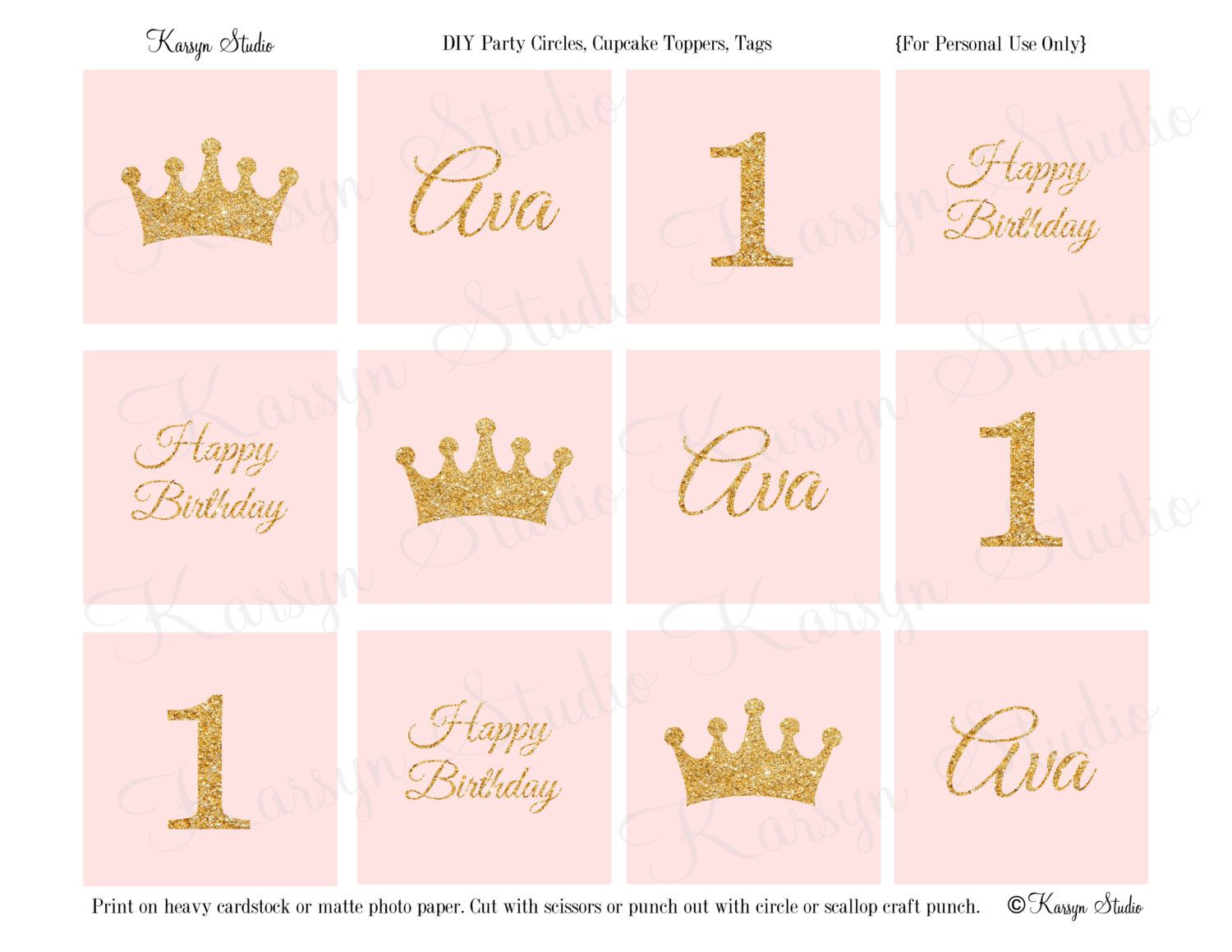 36 Pack Pind /& GOLD Crown Cupcake Toppers Picks Princess For Girls Birthday Baby