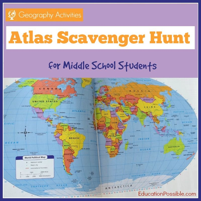 Geography activities world atlas scavenger hunt geography a free printable scavenger hunt to assist students in learning information about places around the world and becoming familiar with the format of an atlas gumiabroncs Gallery