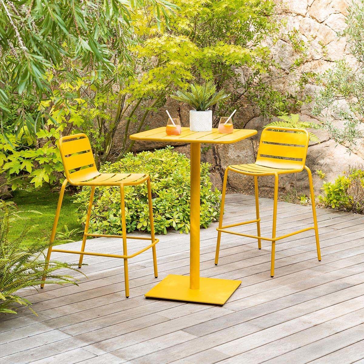 Table Haute De Jardin Phuket Jaune Moutarde En 2020 Table Haute Table Verte Table De Jardin