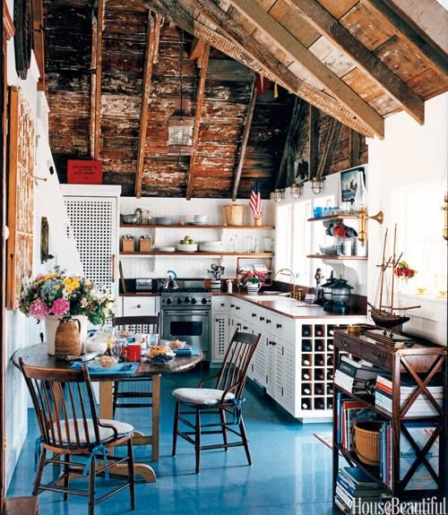 #Kitchen cabinetry in a Nantucket cottage designed by Gary McBournie was made by Nantucket furniture maker Carter Mitchell. The open grate design allows for ventilation & the concealment of appliances. #cottage #interiordesign @Allison House! Beautiful magazine