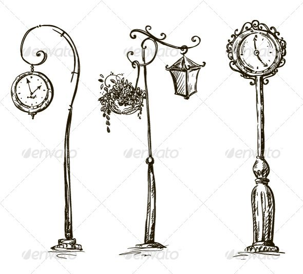 Street Clocks And A Lamp Post Hand Drawn How To Draw Hands Clock Drawings Architecture Drawing Art