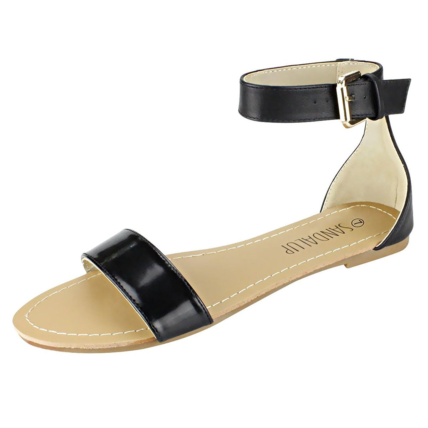 8953db126 SANDALUP Tie Up Ankle Strap Flat Sandals for Women Flats