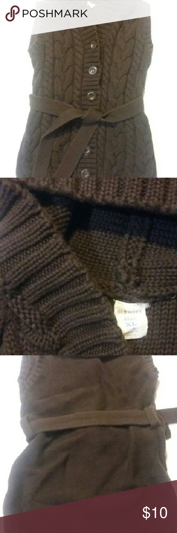Old navy sleeveless hooded sweater Super cute classic brown ...