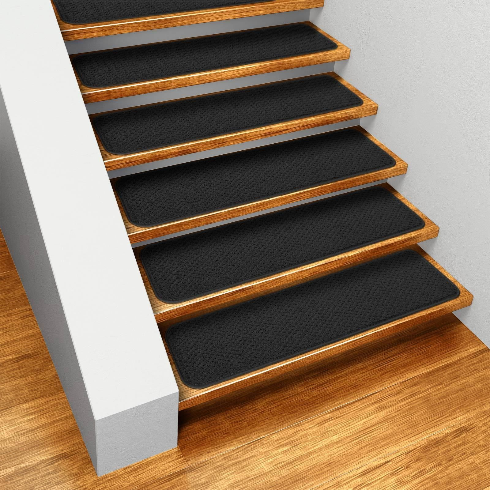 Best Set Of 15 Skid Resistant Carpet Stair Treads Black 640 x 480