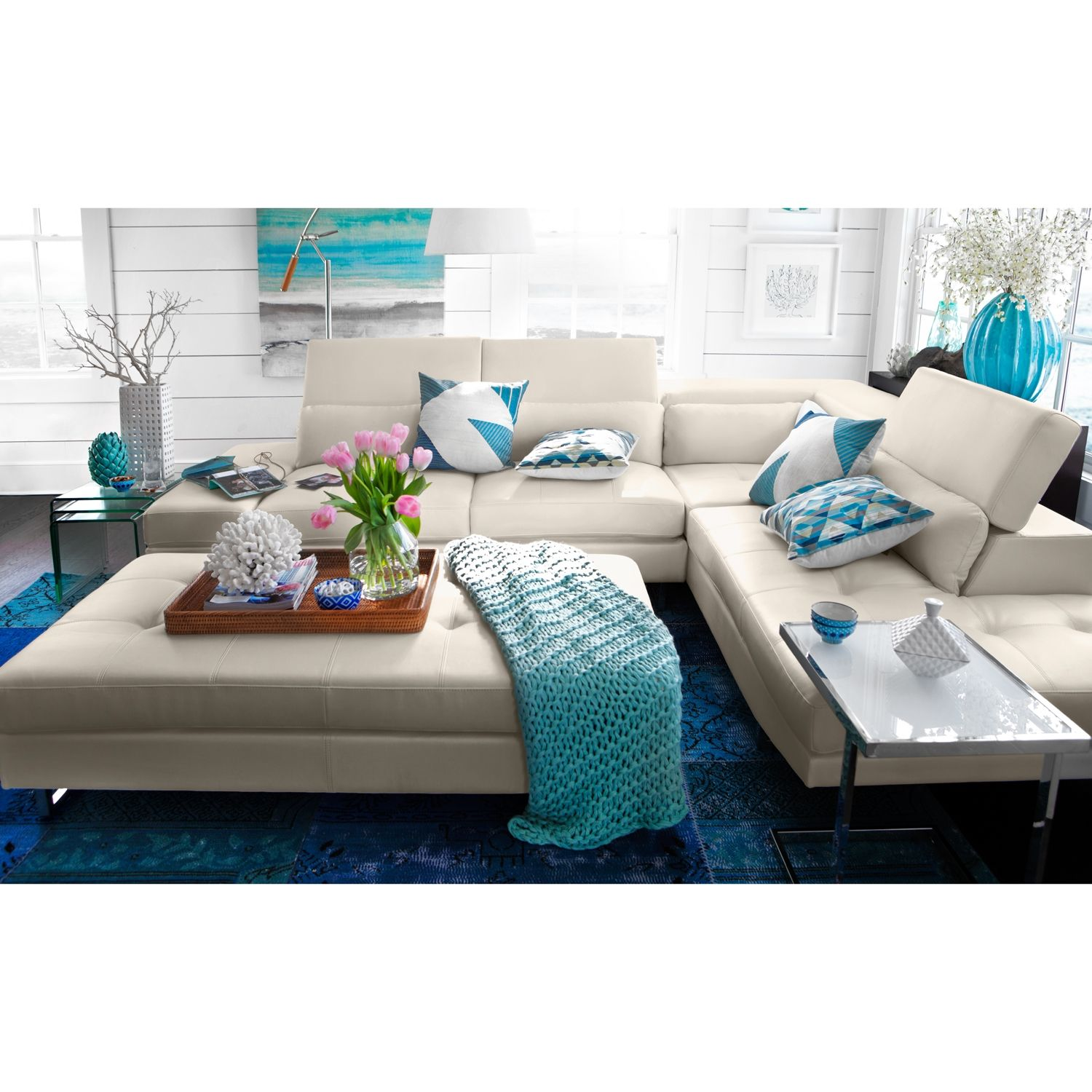 Living Room Furniture Madrid 2 Pc Sectional Glam