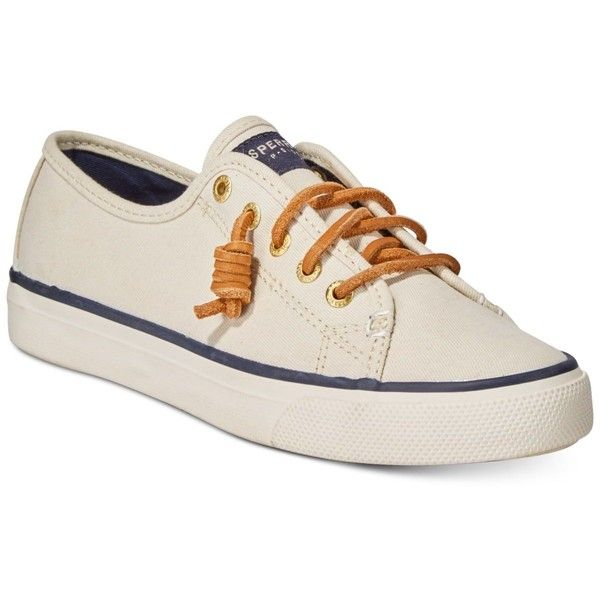 Sperry Women's Seacoast Canvas Sneakers ($60) ❤ liked on Polyvore featuring shoes, sneakers, ivory, sperry, preppy shoes, plimsoll sneakers, sperry sneakers and ivory shoes