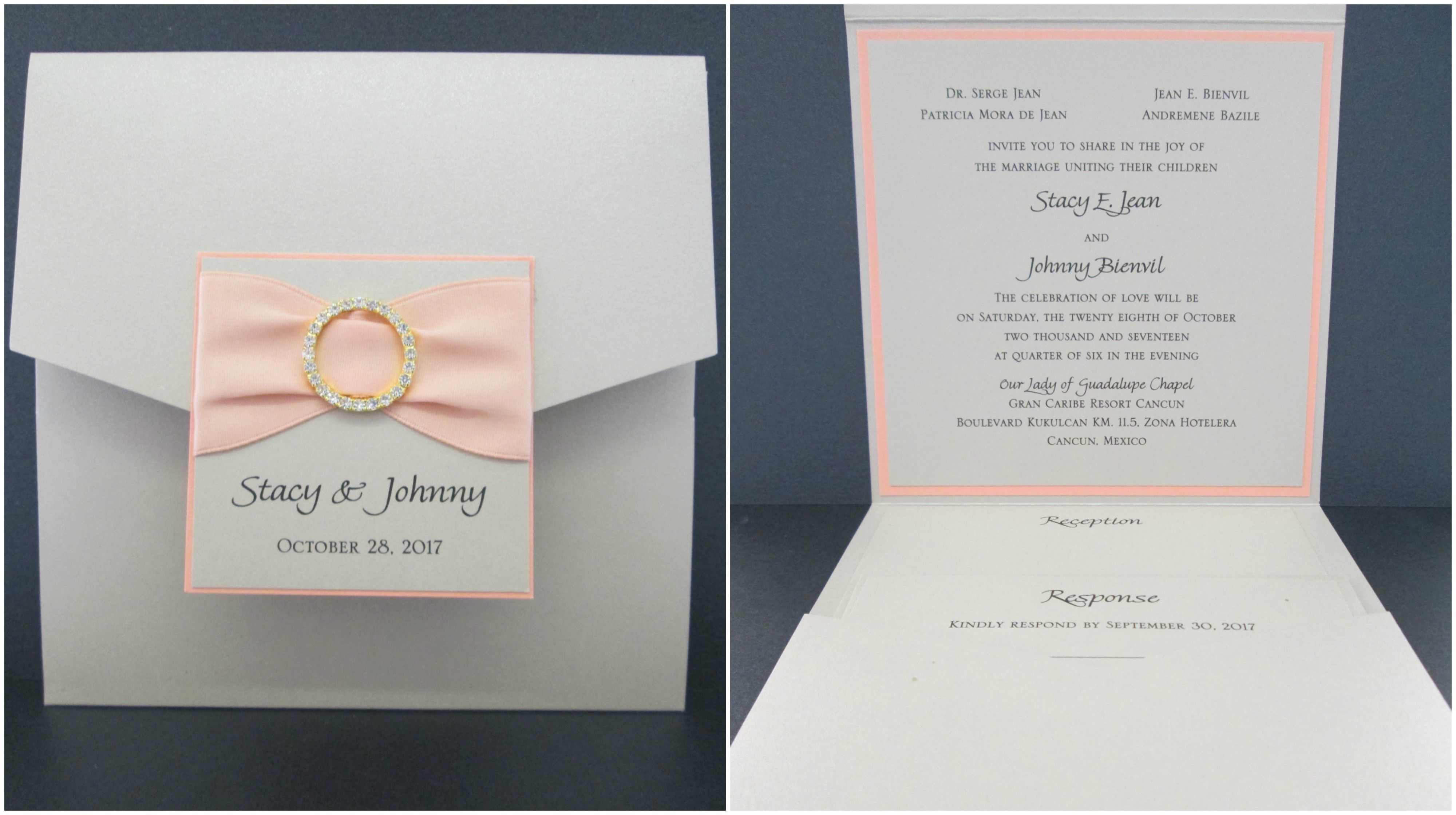 irish wedding invitations templates%0A Coral and Beige Pocket Invitation with Ribbon and Bling Closing Tag