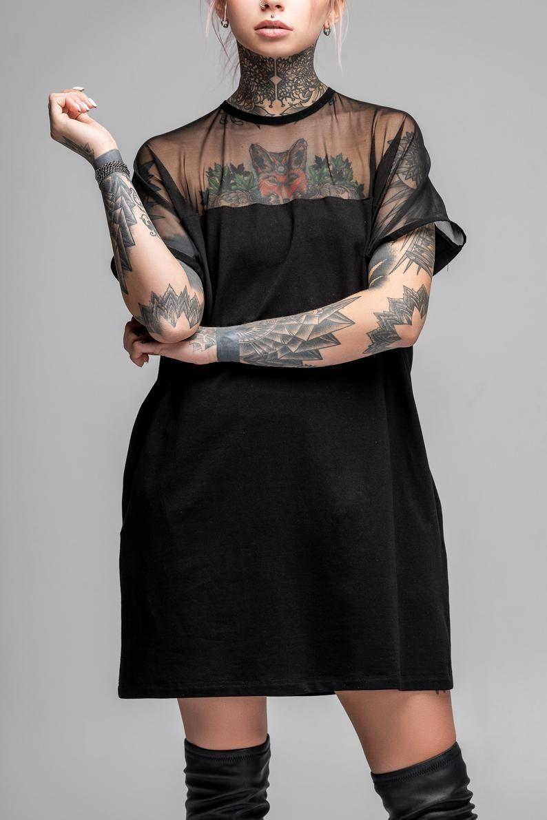 Black T Shirt Dress Futuristic Tunic Sheer Top Mesh Goth Dress Oversized Boho Mini Dress Post Apocalyptic Cyberpunk Clothing A0246 Mini Shirt Dress Boho Mini Dress Sheer Top [ 1191 x 794 Pixel ]