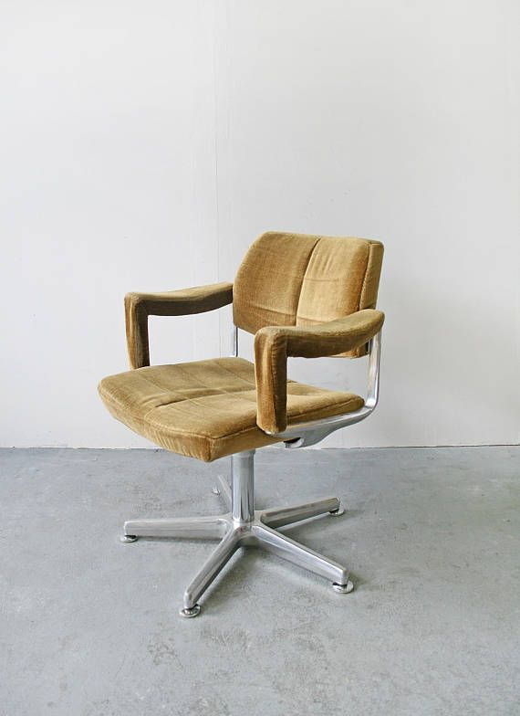 Vintage West German Mustard Corduroy Cushion Swivel Office Chair Steel Mid Century Modern Desk Execut Mid Century Modern Desk Swivel Office Chair Steel Chair