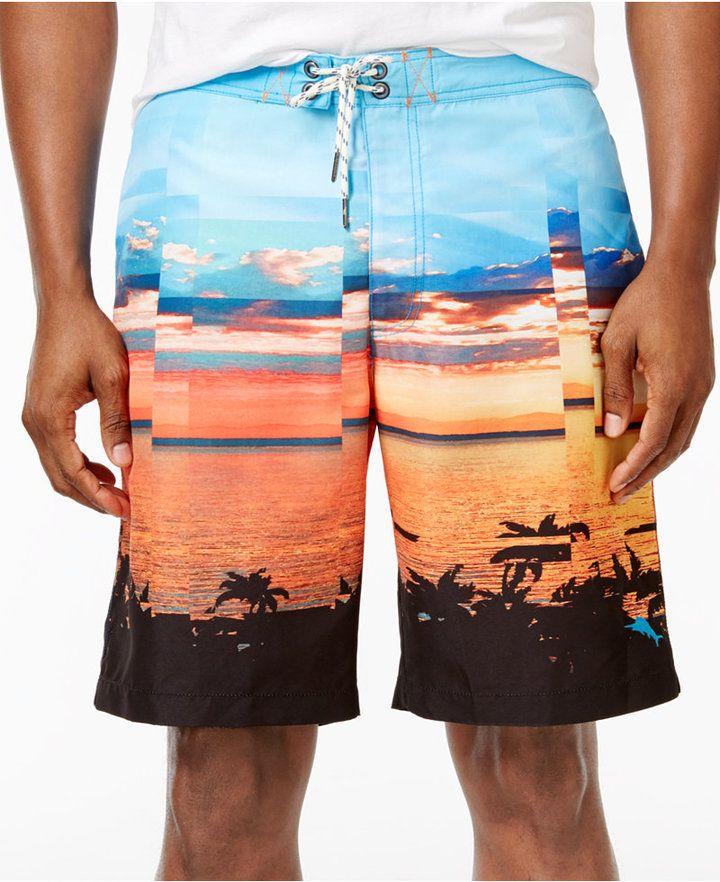 Price:EUR 88.52 | Tommy Bahama Men's Baja Pixel Scenic-Print Swim Trunks |
