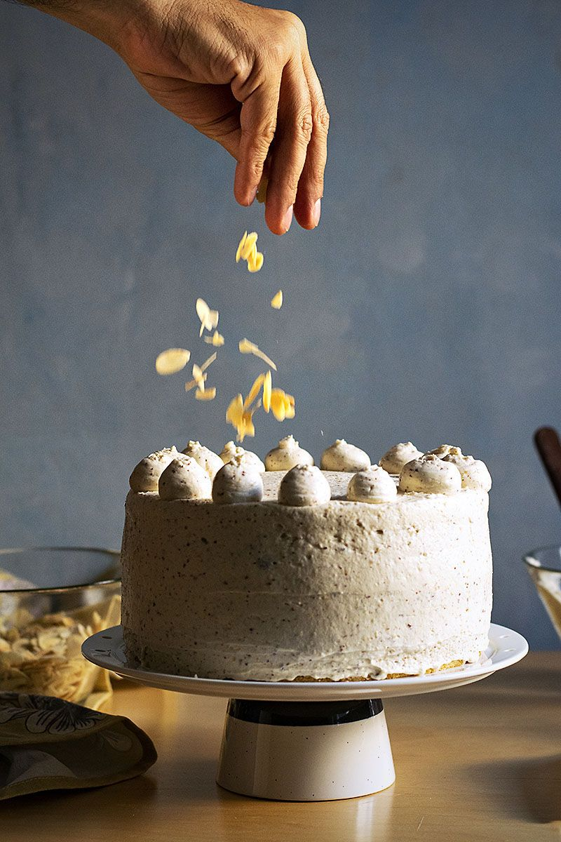 Roasted almond white chocolate mousse cake nougat torte