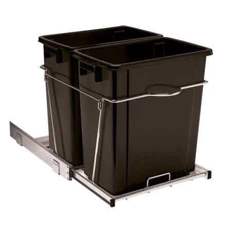 34 Qt Double Roll Out Trash Can New Kitchen Family Room