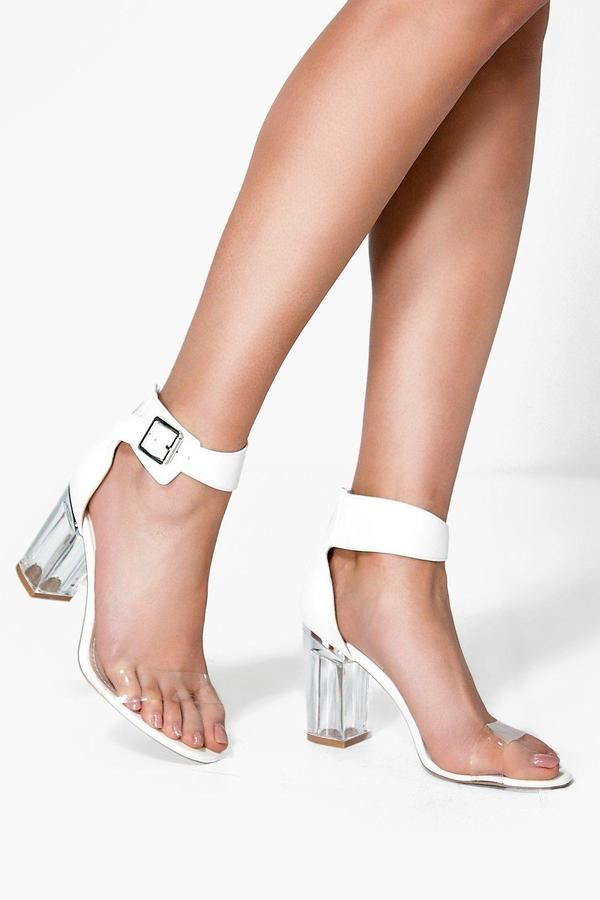0bb398227a boohoo Laura Clear Block Heel Two Part | FASHION | Shoes, Jelly ...