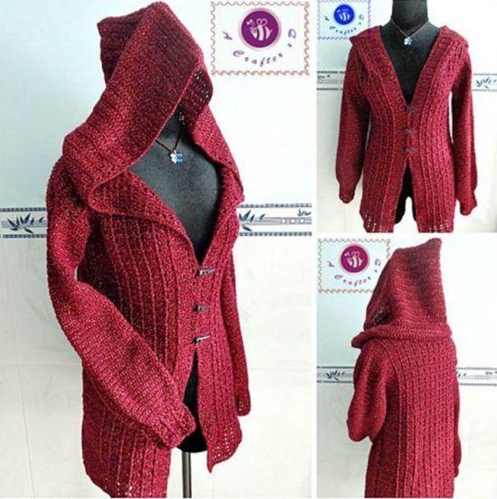 Crochet Hooded Jacket Pattern Free Video Tutorial | Strickjacke