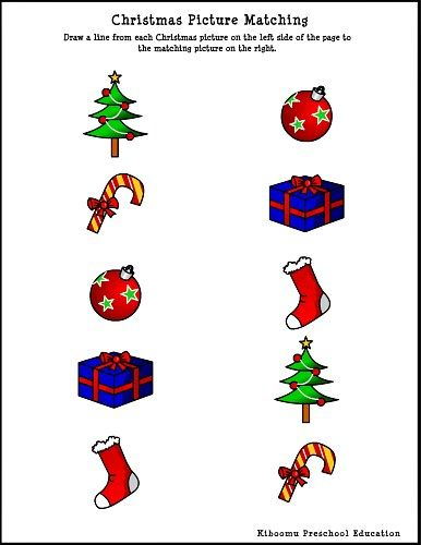 christmas picture matching worksheet kidsactivities easy toddler crafts and activities. Black Bedroom Furniture Sets. Home Design Ideas