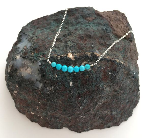 Turquoise necklace, Sleeping beauty Turquoise with Sterling silver, December birthstone jewellery, birthday gift, wife gift, girlfriend gift
