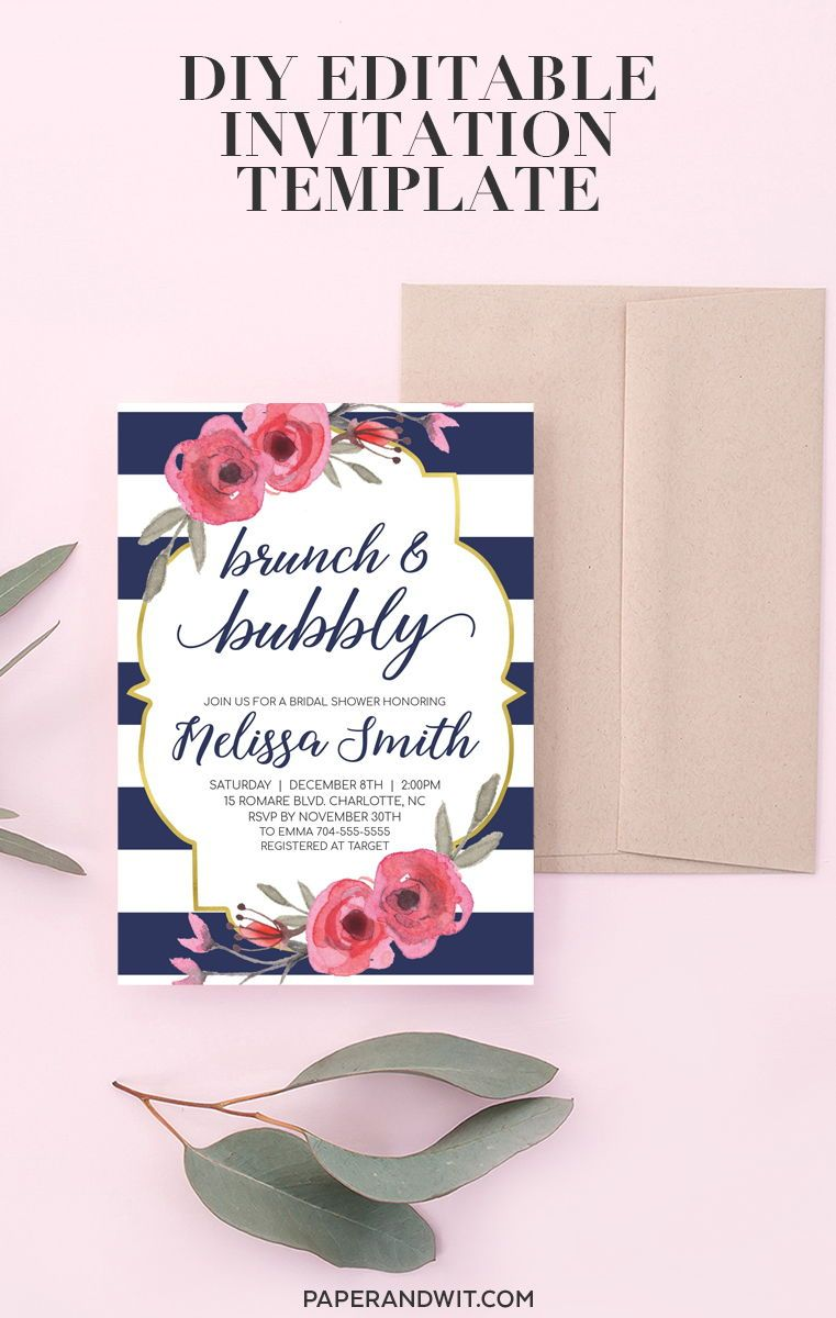 f41baa9f8fba Navy Bridal Shower Ideas - Pink Floral and Navy Bridal Shower Invitations  Printable Etsy. Easily edit
