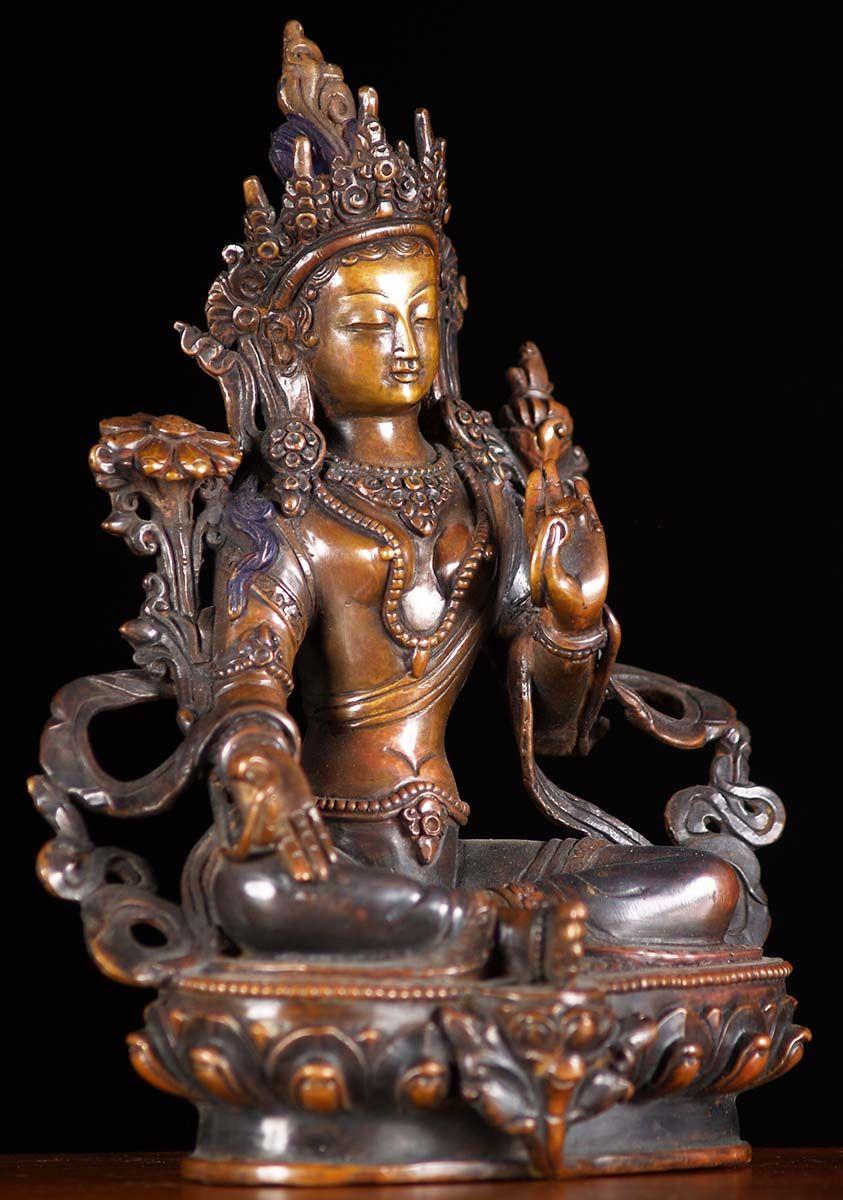 China antique Tibet silver gilt copper Buddhist  green Tara statue
