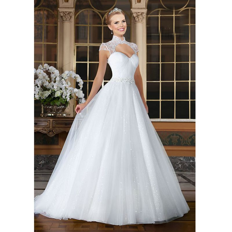 Click To Buy Sparkly White Ball Gown Wedding Dresses Backless Cap Sleeve