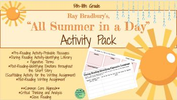image regarding All Summer in a Day Worksheet identified as All Summer time within a Working day, Ray Bradbury-Match Pack-Worksheets