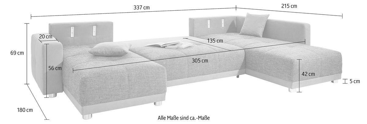 Places of Style Wohnlandschaft mit Federkern und Bettfunktion