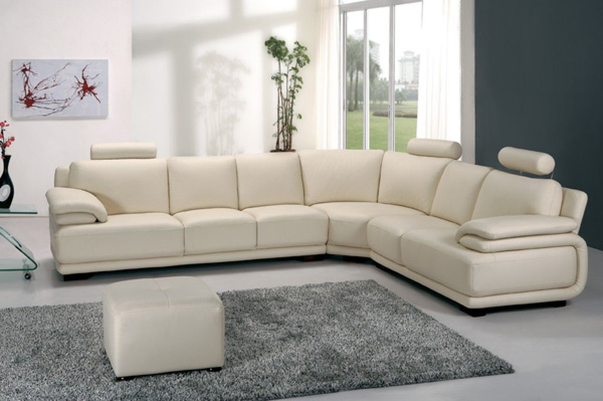 Adjustable Armrests Headrest White Leather Sectional Sofa With