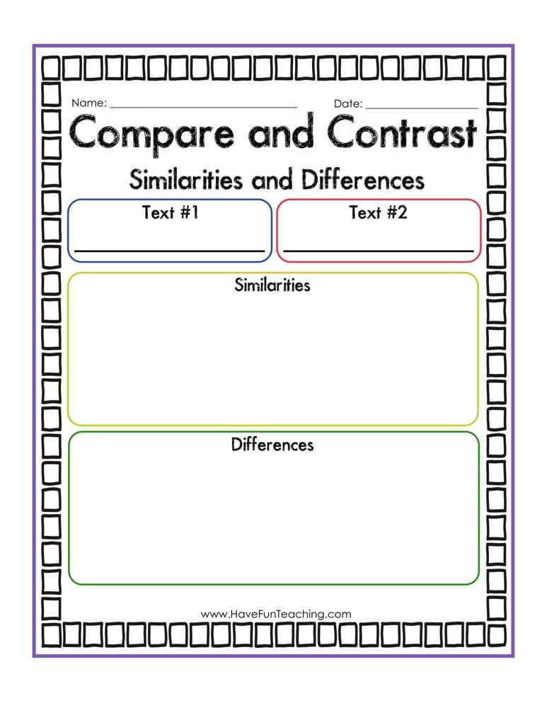 Compare And Contrast Worksheets Have Fun Teaching Compare And Contrast Have Fun Teaching Reading Graphic Organizers Compare and contrast reading worksheets