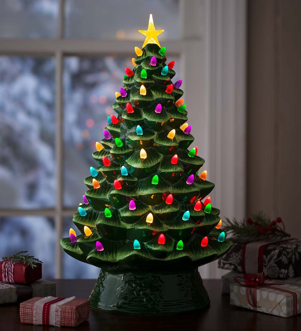 Lighted Ceramic Christmas Tree, Battery Operated | Holiday Lighting