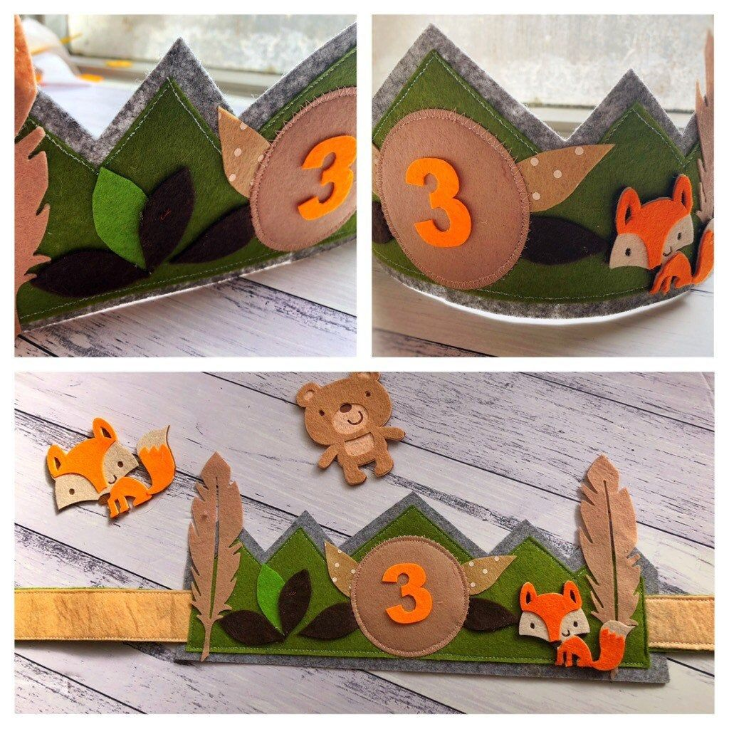Woodland theme birthday and dress up crown felt crown Boys crown great for 1st birthday Can be personalised crown with name or age