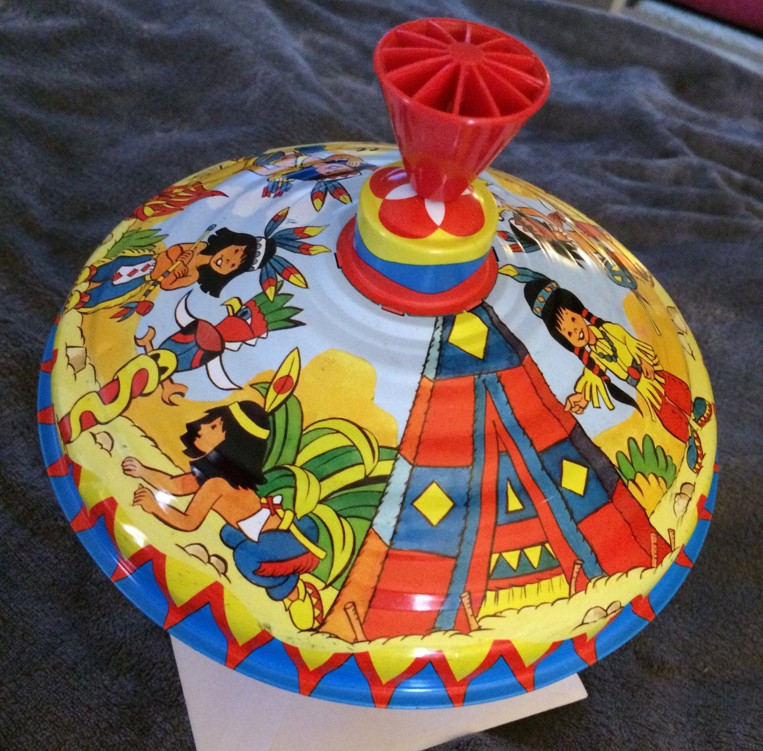 1960 toys images  Vintage french metal spinning top Vintage toy  Mid century by