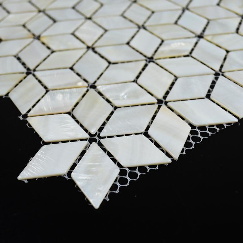 Diamond mother of pearl tiles white mosaic tile backsplash rhombus ...
