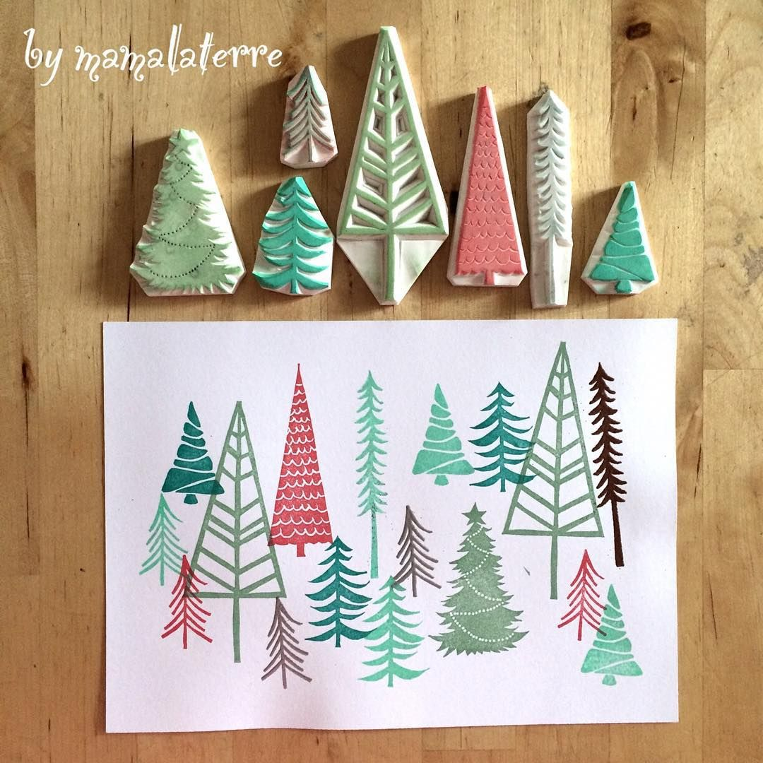"Bymamalaterre on Instagram: ""Christmas forest ��#bymamalaterre #hanco #hanko #eraserstamp #rubberstamp #handprinted #stampart #christmascard #christmastree"""