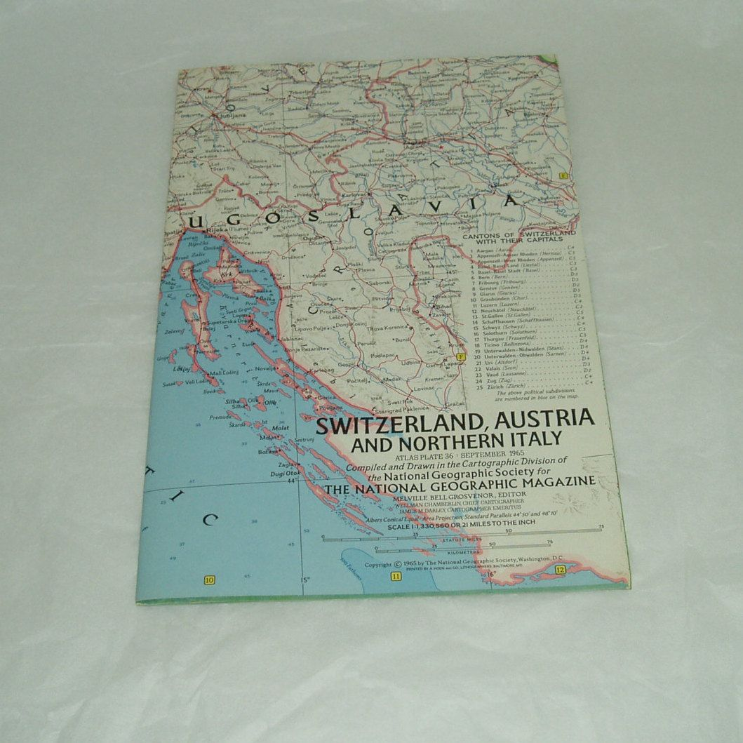 National Geographic vintage map published