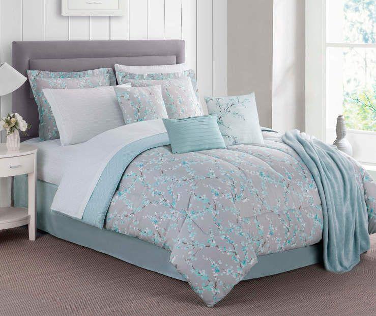 Aqua Blossom Queen 12 Piece Comforter Set Big Lots Comforter