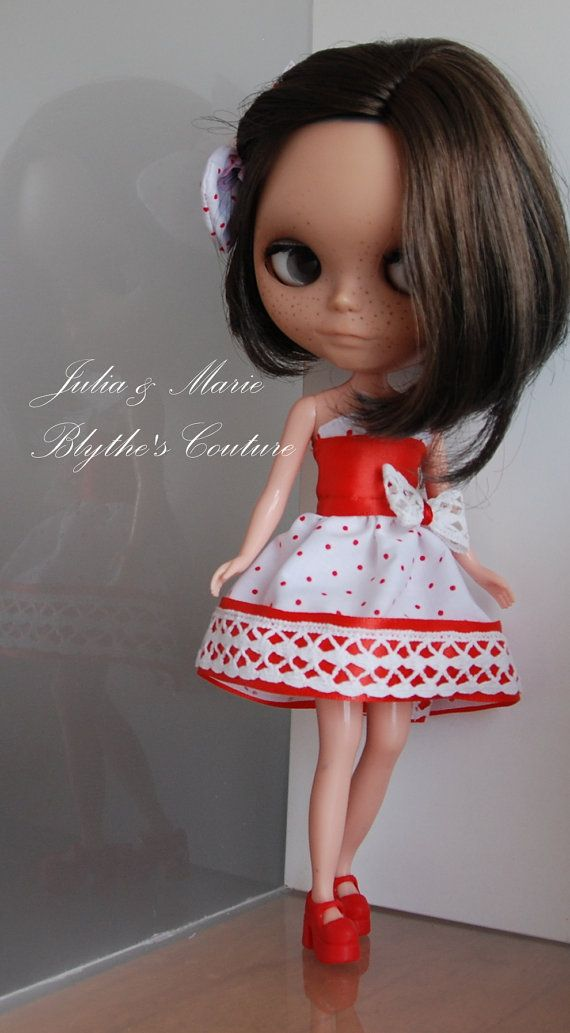 Sweet Blythe outfit red and white  dress by juliettaexussetta, €15.00