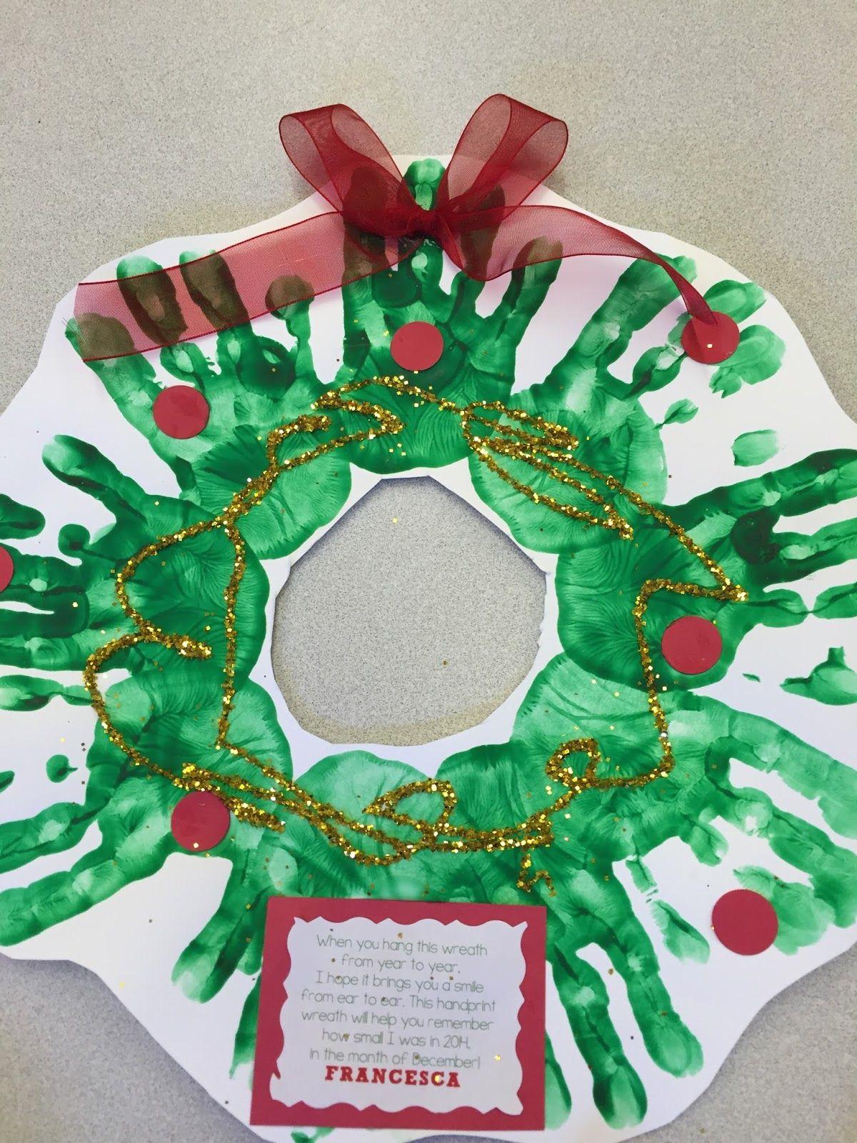 Christmas Wreath handprint craft Terrific Preschool