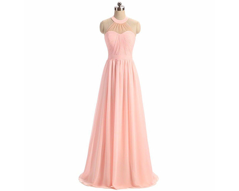 Vampal Pink Halter Neck A-Line Floor Length Chiffon Bridesmaid Dress ...