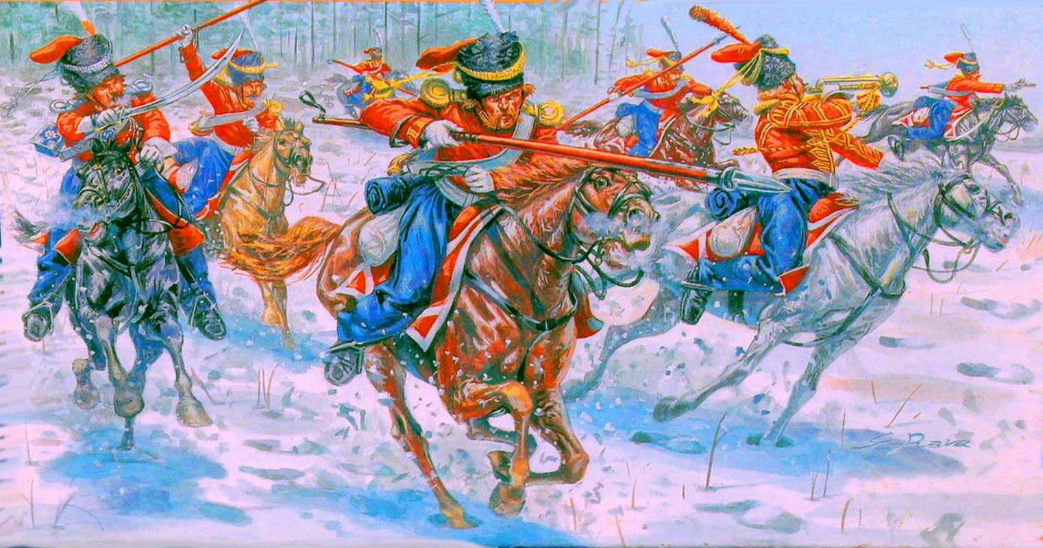 Russian Guard Cossacks charging by Giuseppe Rava