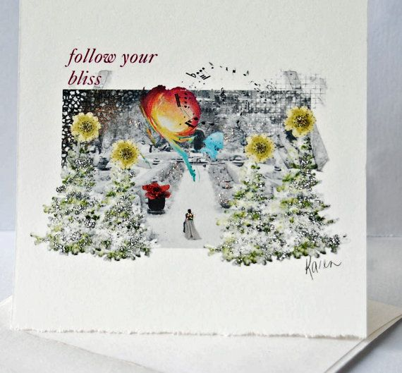 Follow Your Bliss Digital Art Collage Card by HemeonArtworks, $7.00