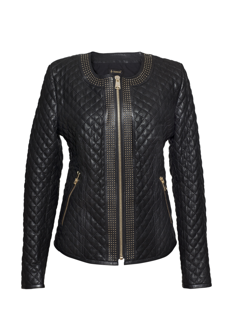 Kemal Tanca 2014 Siyah Renkli Kapitone Modelli Deri Bayan Ceket Modeli Blazer Ceket Deri Ceket Deri