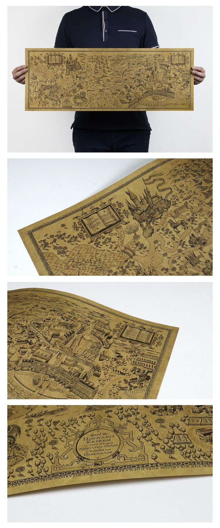 Very cool wall map of Harry Potter\'s world! Great gift for fans of ...